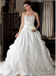 Ball-Gown Sweetheart Royal Train Satin Wedding Dress With Embroidery Ruffle Beading