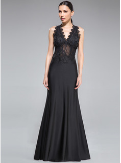 Sheath/Column V-neck Floor-Length Tulle Lace Jersey Evening Dress