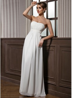 Empire Sweetheart Floor-Length Chiffon Charmeuse Bridesmaid Dress With Ruffle Beading