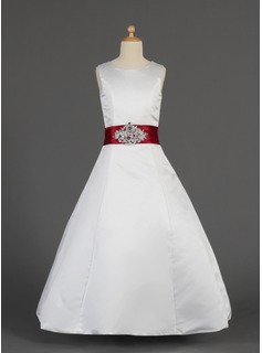 A-Line/Princess Floor-length Flower Girl Dress - Satin Sleeveless Scoop Neck With Lace/Sash/Beading
