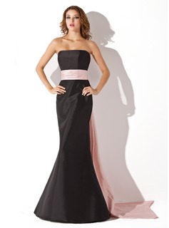 Trumpet/Mermaid Strapless Floor-Length Taffeta Prom Dress With Sash
