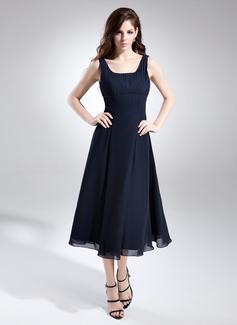 A-Linie/Princess-Linie Rechteckiger Ausschnitt Wadenlang Chiffon Brautjungfernkleid mit Rüschen