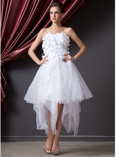 A-Line/Princess Sweetheart Asymmetrical Organza Prom Dress With Flower(s)