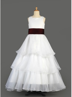 A-Line/Princess Floor-length Flower Girl Dress - Organza/Satin Sleeveless Scoop Neck With Ruffles/Sash