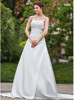 A-Line/Princess Sweetheart Cathedral Train Satin Wedding Dress With Ruffle Lace Beading