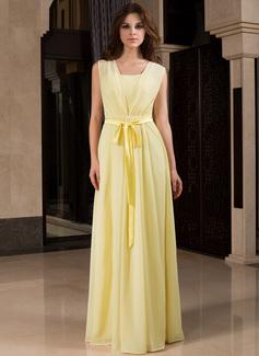 A-Line/Princess V-neck Floor-Length Chiffon Charmeuse Bridesmaid Dress With Ruffle Bow(s)