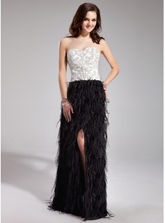 Sheath/Column Sweetheart Floor-Length Satin Feather Prom Dress With Beading Split Front