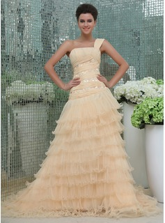 A-Line/Princess One-Shoulder Cathedral Train Chiffon Organza Prom Dress With Beading Appliques Lace Cascading Ruffles