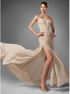 Sheath Sweetheart Sweep Train Chiffon Prom Dress With Ruffle Beading