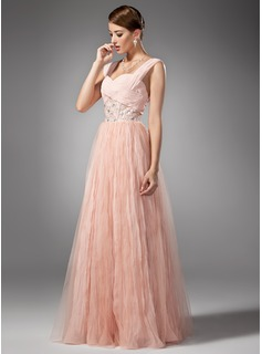 A-Line/Princess Sweetheart Floor-Length Chiffon Prom Dress With Beading Pleated