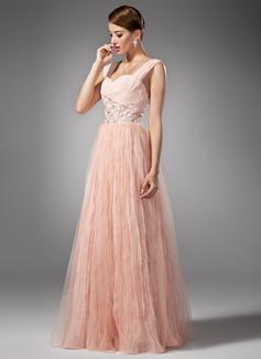 Corte A/Princesa Escote corazón Vestido Chifón Vestido de baile de promoción con Bordado Plisado