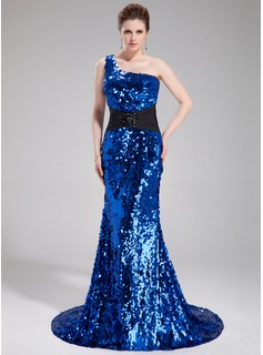 Mermaid One-Shoulder Court Train Chiffon Sequined Prom Dress With Sash Beading