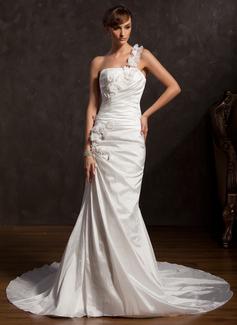 Trumpet/Mermaid One-Shoulder Chapel Train Taffeta Wedding Dress With Ruffle Lace Flower(s)