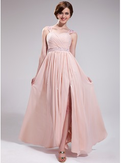 A-Line/Princess Sweetheart Floor-Length Chiffon Prom Dress With Ruffle Beading Appliques Lace Sequins Split Front