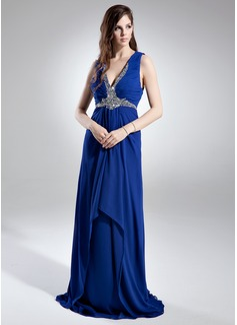 Çan/Prenses V Yaka Kuyruklu Chiffon Gece Elbisesi Ile Büzgü Pullarda