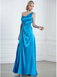 A-Line/Princess One-Shoulder Sweep Train Charmeuse Holiday Dress With Ruffle Beading