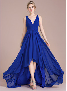 A-Line/Princess V-neck Asymmetrical Chiffon Bridesmaid Dress With Ruffle Beading Sequins