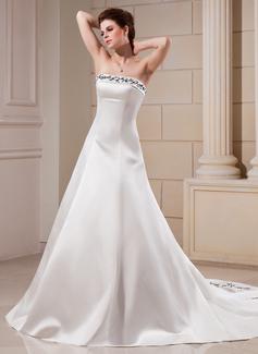 Corte A/Princesa Estrapless Cola capilla Satén Vestido de novia con Bordado Bordado