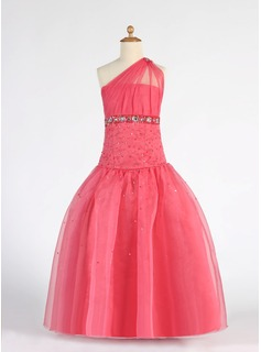 A-Line/Princess One-Shoulder Floor-Length Organza Flower Girl Dress With Ruffle Beading Sequins