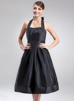 Çan/Prenses Yular Diz Hizası Taffeta Organza Nedime Elbisesi