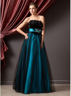 A-Line/Princess Strapless Floor-Length Satin Tulle Prom Dress With Beading Feather