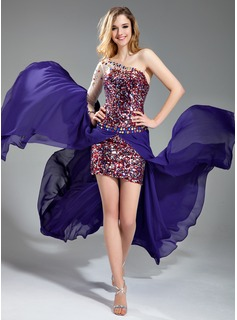 Sheath One-Shoulder Asymmetrical Chiffon Tulle Sequined Prom Dress With Beading