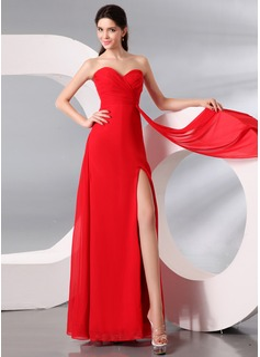 Kılıf Kalp Kesimli Uzun Etekli Chiffon Gece Elbisesi