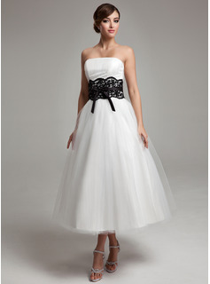 A-Line/Princess Strapless Tea-Length Satin Tulle Wedding Dress With Lace Sash Beading Bow(s)
