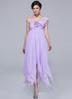 Empire-Linie One-Shoulder-Träger Knöchellang Chiffon Festliche Kleid mit Blumen Gestufte Rüschen