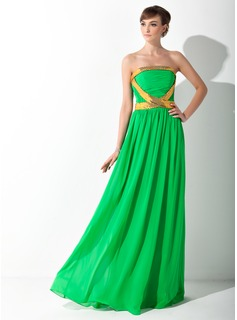 A-Line/Princess Strapless Floor-Length Chiffon Prom Dress With Ruffle Sash Sequins