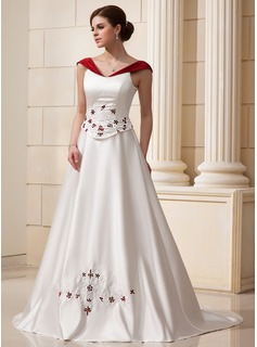 A-Line/Princess Off-the-Shoulder Chapel Train Satin Wedding Dress With Beading Flower(s)