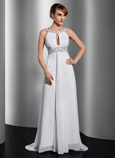 A-Linie/Princess-Linie U-Ausschnitt Gericht Schleppe Chiffon Abendkleid mit Rüschen Perlen verziert Pailletten