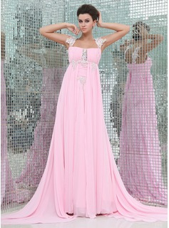 Empire Watteau Train Chiffon Evening Dress With Ruffle Lace Beading