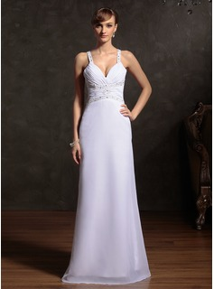 Sheath Sweetheart Floor-Length Chiffon Holiday Dress With Ruffle Beading