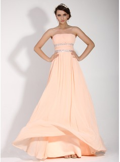 A-Line/Princess Strapless Floor-Length Chiffon Holiday Dress With Ruffle Beading