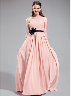 A-Line/Princess One-Shoulder Sweep Train Chiffon Charmeuse Bridesmaid Dress With Ruffle Sash Flower(s)