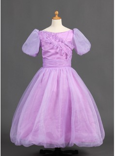 Ball Gown Floor-length Flower Girl Dress - Organza/Satin Short Sleeves Bateau With Ruffles