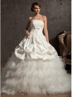 Ball-Gown Scalloped Neck Chapel Train Satin Tulle Wedding Dress With Beading Flower(s) Bow(s)