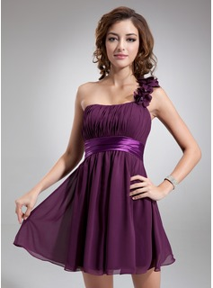 Empire One-Shoulder Short/Mini Chiffon Charmeuse Homecoming Dress With Ruffle Flower(s)