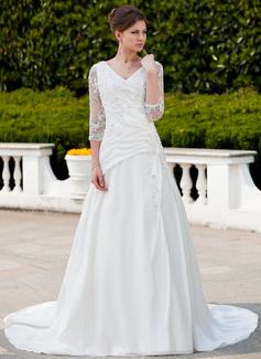A-linjeformat V-ringning Chapel släp Taft Tyll Bröllopsklänning med Rufsar Spetsar Pärlbrodering