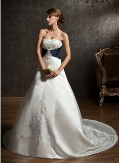 Ball-Gown Sweetheart Chapel Train Satin Wedding Dress With Embroidery Sashes Beadwork