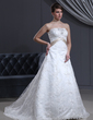 A-Line/Princess Strapless Court Train Lace Wedding Dress With Sash Beading Bow(s) (002000500)