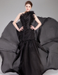 Trumpet/Mermaid One-Shoulder Sweep Train Organza Prom Dress With Ruffle (018020777)