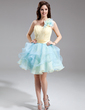 A-Line/Princess One-Shoulder Short/Mini Organza Homecoming Dress With Flower(s) Cascading Ruffles (022016307)