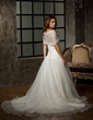 Ball-Gown Sweetheart Chapel Train Organza Wedding Dress With Ruffle Lace Beading Sequins (002011536)