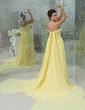 A-Line/Princess Strapless Watteau Train Chiffon Holiday Dress With Ruffle Beading (020025973)