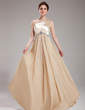 A-Line/Princess One-Shoulder Floor-Length Chiffon Charmeuse Prom Dress With Ruffle Beading (018004859)