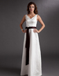 A-Line/Princess V-neck Floor-Length Satin Bridesmaid Dress With Sash Bow(s) (007001917)