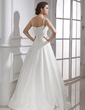 A-Line/Princess Sweetheart Floor-Length Satin Wedding Dress With Ruffle Beading (002015469)