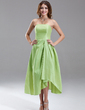 A-Line/Princess Strapless Asymmetrical Taffeta Bridesmaid Dress With Ruffle (007004230)